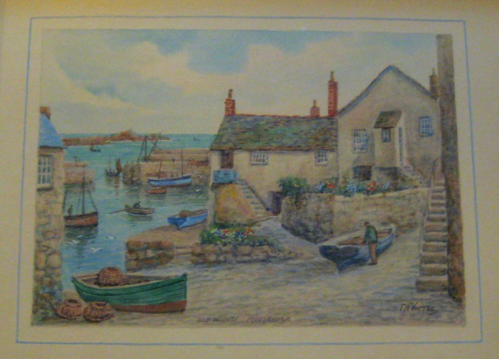 Old Wharf Mousehole, watercolour, signed TH Victor, c1950. Framed. Detail.