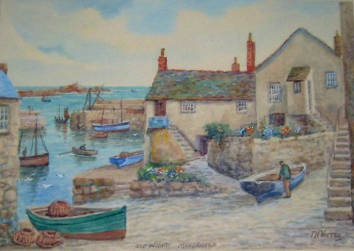 Old Wharf Mousehole, watercolour on paper, signed TH Victor, c1950. Framed.