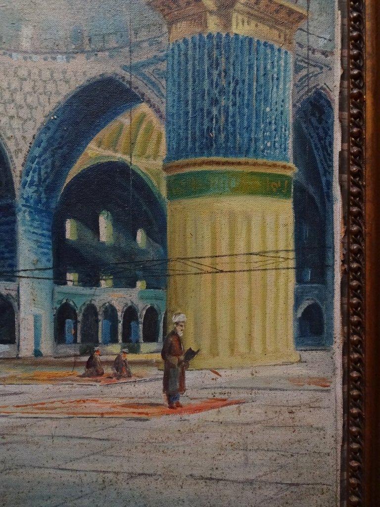 Sultan Ahmed mosque, Istanbul, oil on canvas laid to card, signed W. Petroff, c1928.