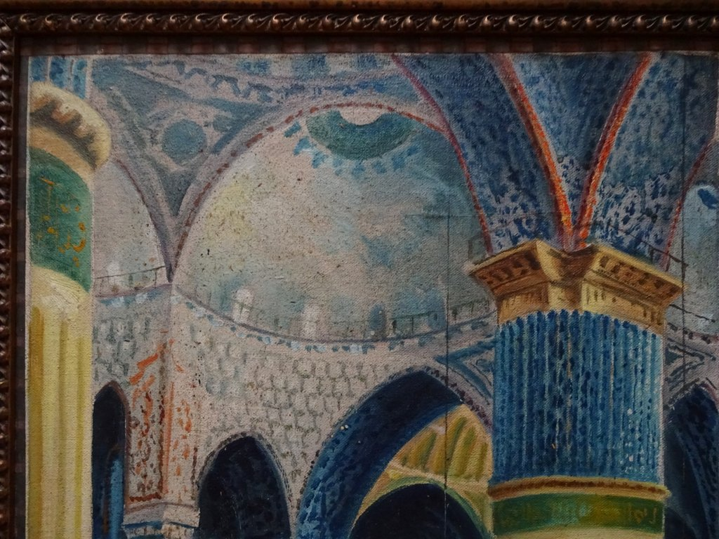 Sultan Ahmed mosque, Istanbul, oil on canvas laid to card, signed W. Petroff, c1928. Detail.