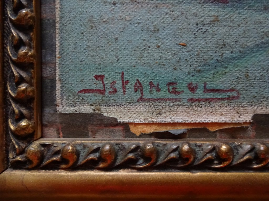 Sultan Ahmed mosque, Istanbul, oil on canvas laid to card, signed W. Petroff, c1928. Detail. Title.