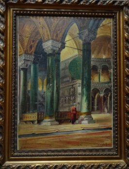 Istanbul, interior scenes of Hagia Sophia and Sultan Ahmet Camii, a pair, oils on canvas, signed W. Petroff, c1928.  SOLD 08.03.2016.