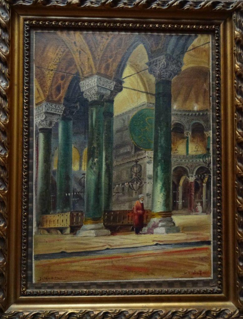 Istanbul, interior scenes of Hagia Sophia and Sultan Ahmet Camii, a pair, o