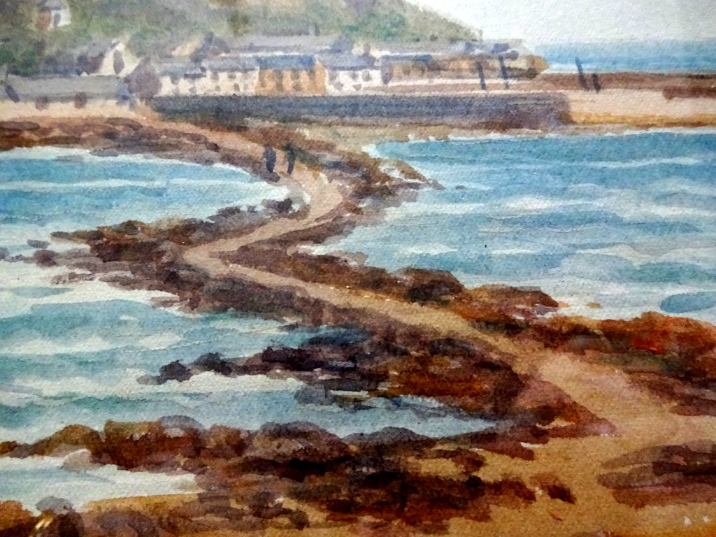 TH Victor, St. Michael's Mount, watercolour, signed TH Victor, c1930. Detail.