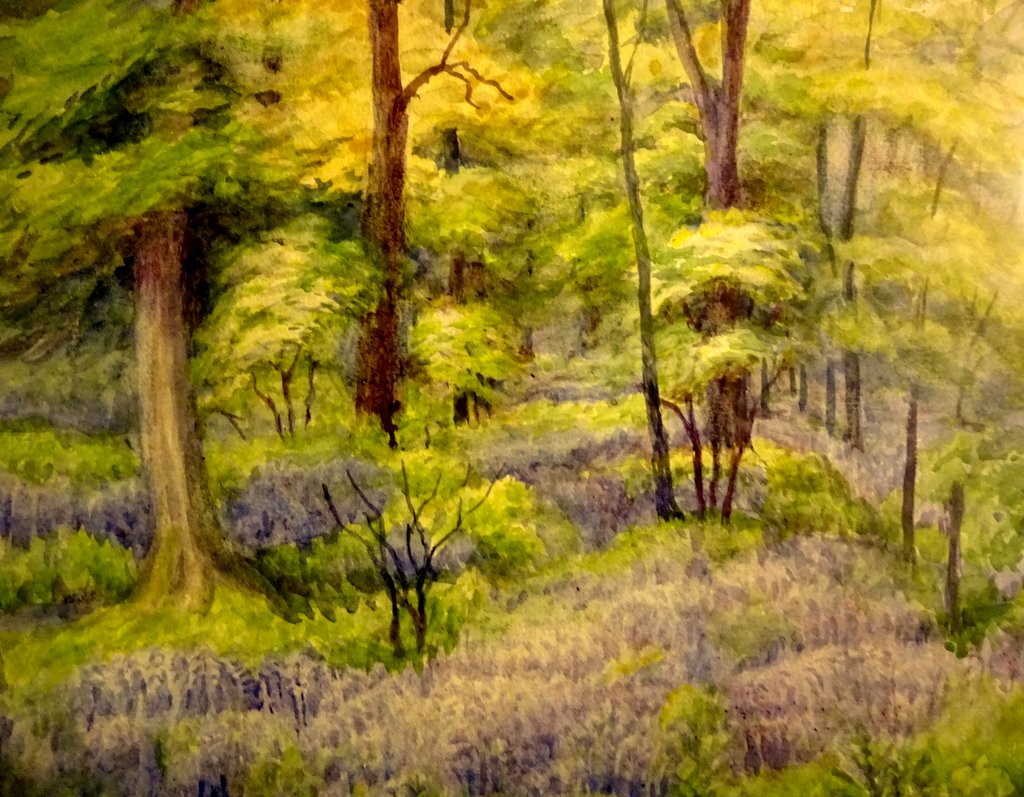 In the Bluebell Wood, watercolour, signed MJ Colwell 1922. Original frame. Detail.