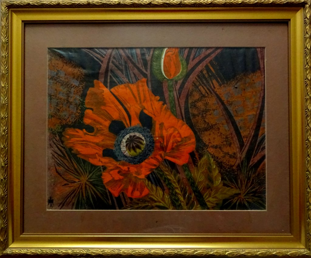 Poppy Jungle, mixed media, watercolour and acrylic, signed monogram symbol, c1960.