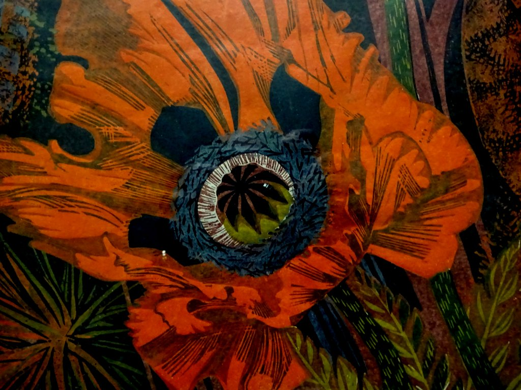Poppy Jungle, mixed media, watercolour and acrylic, signed monogram symbol, c1960. Detail.