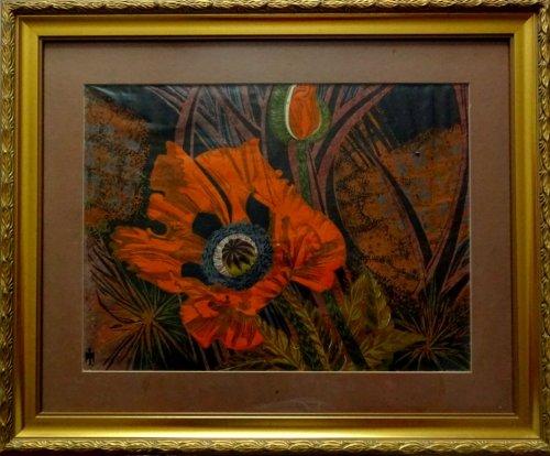 Poppy Jungle, mixed media, watercolour & acrylic, signed monogram symbol, c