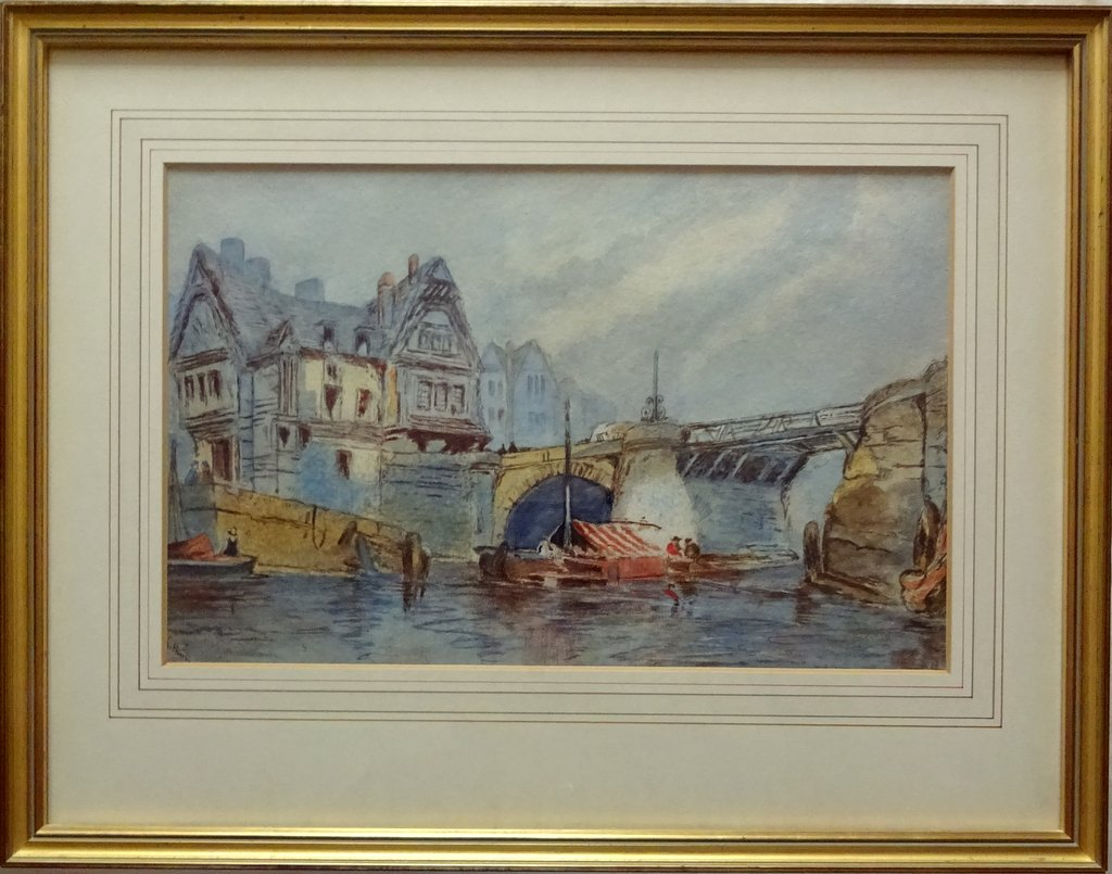 Whitby Harbour Old Bridge, watercolour, signed K Hall, c1880.