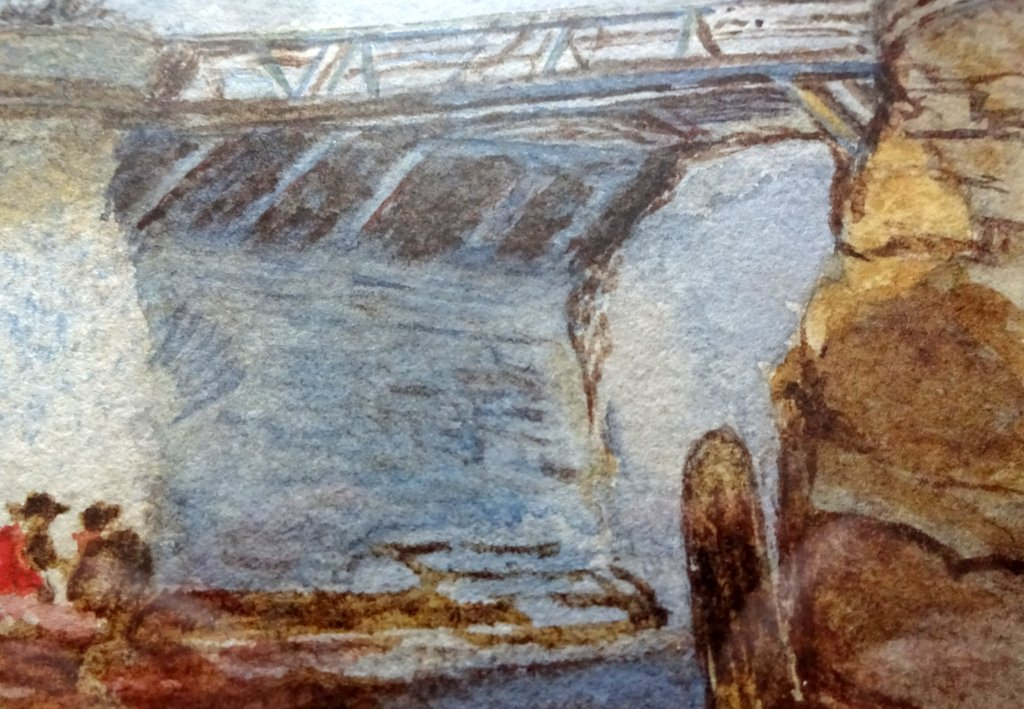 Whitby Harbour Old Bridge, watercolour, signed K Hall, c1880. Detail.