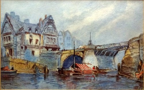 Whitby Harbour Old Bridge, watercolour, signed K. Hall, c1880.