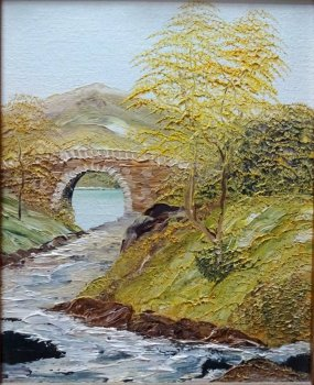 Impasto Lake District scene, oil on canvas board, unsigned. c1960. Framed.