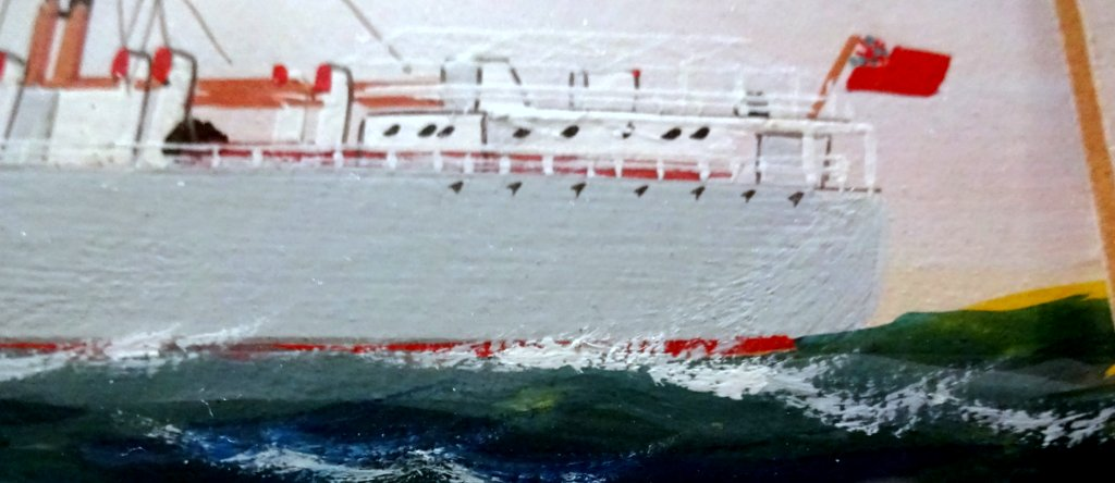 mv English Prince, gouache, titled, signed and dated, H Crane 1954. Detail.