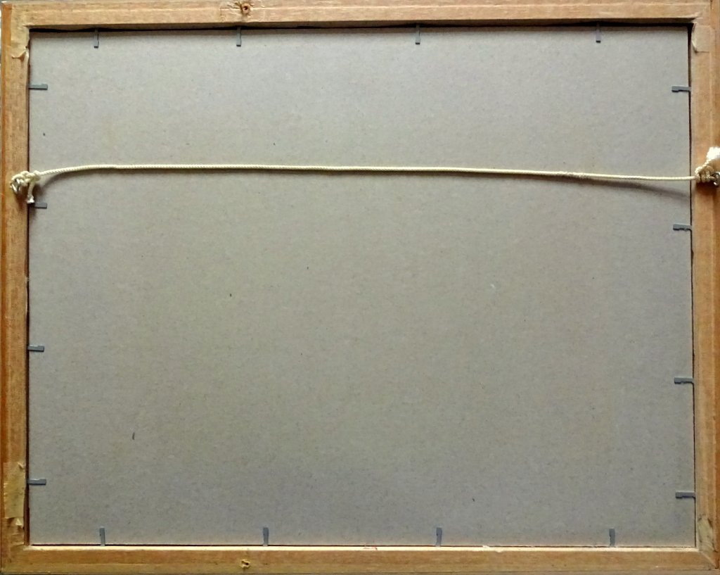 mv English Prince, gouache, titled, signed and dated, H Crane 1954. Detail. Frame, verso.