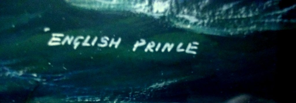 mv English Prince, gouache, titled, signed and dated, H Crane 1954. Detail. Title lower rh corner.