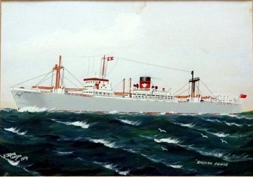 mv English Prince at Sea, gouache, titled, signed H Crane London 1954.