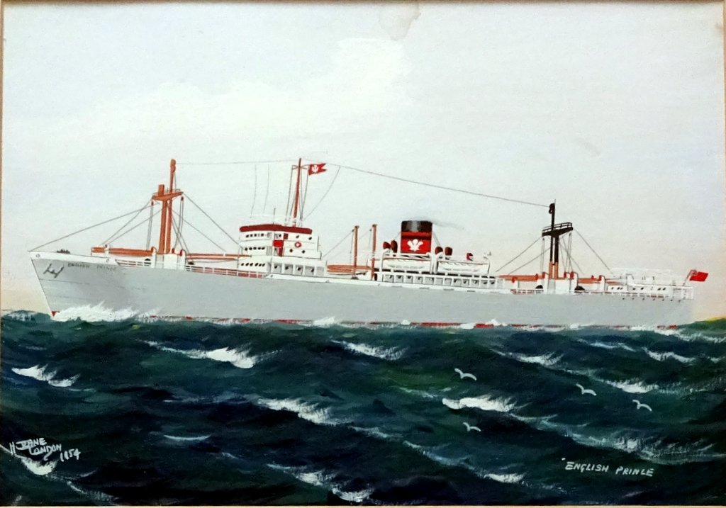 H. Crane, 19th/20thC Pierhead Painter, mv English Prince, Prince Line, gouache, signed, titled dated 1954.