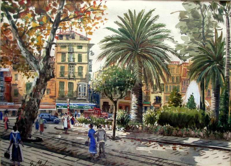 Molina G., Busy Spanish Town Square, Palma de Mallorca, 20thC Spanish School, c1960.