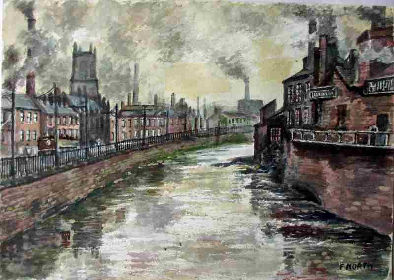 North, Frank, 1899-1986, Sheffield, River Don Industrial Scene, signed F. North c1960.