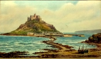 TH Victor, St. Michael's Mount, watercolour, signed TH Victor, c1930.