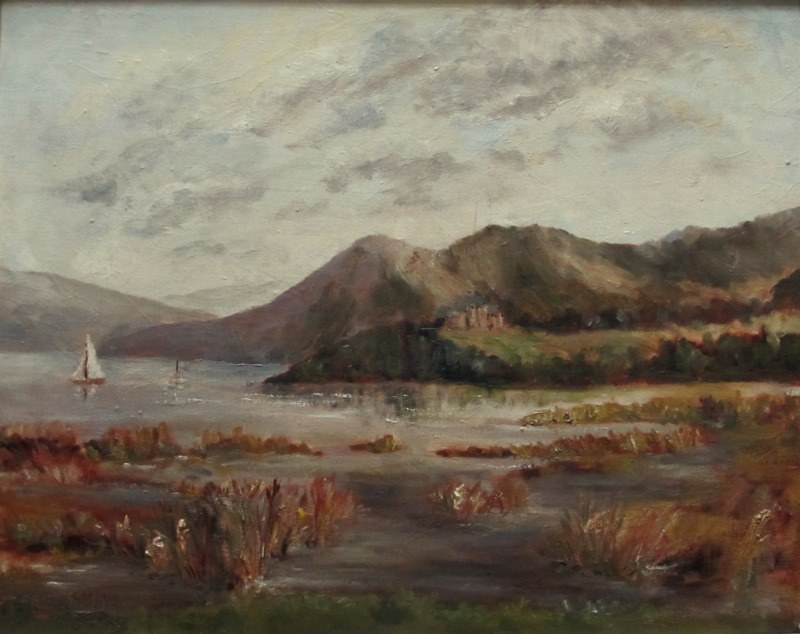 Grimshaw, T.E., Windermere from Baron's Field, oil on canvas, signed. c1960.