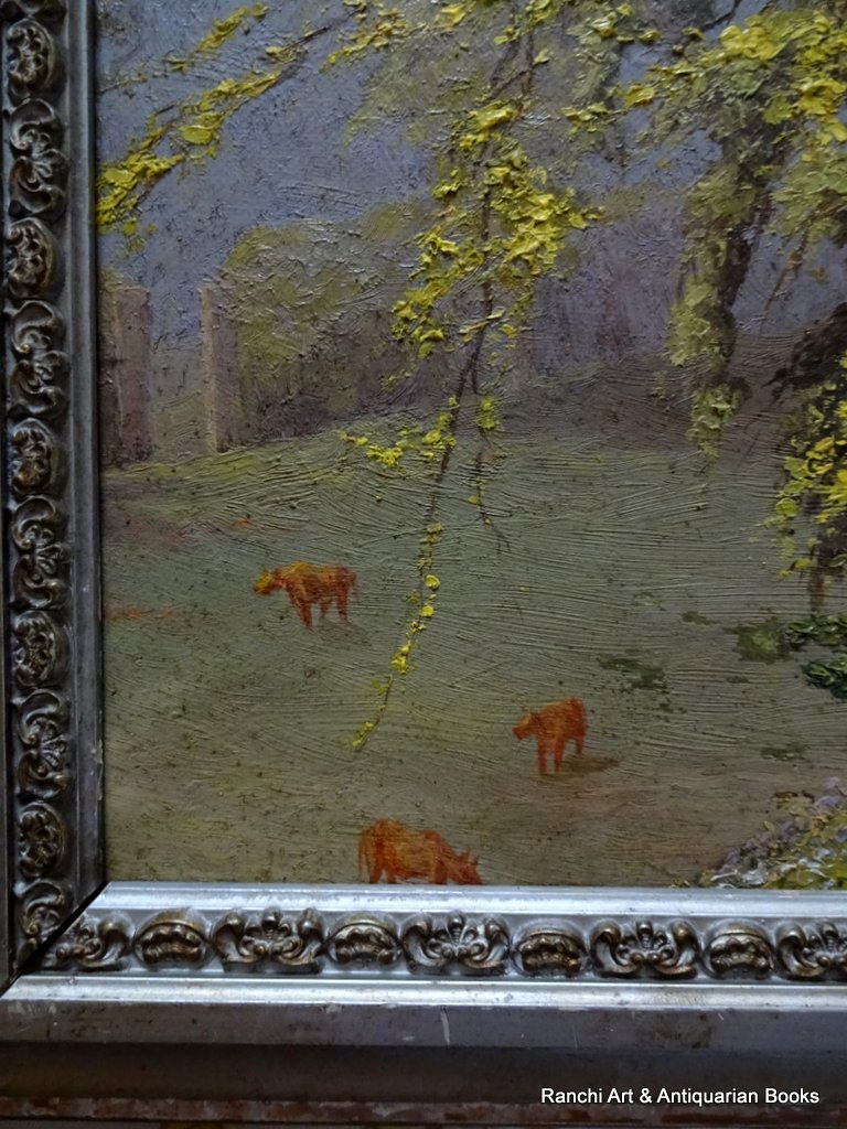 Man in forest with cattle, oil on board, unsiged. c1950 Detail.