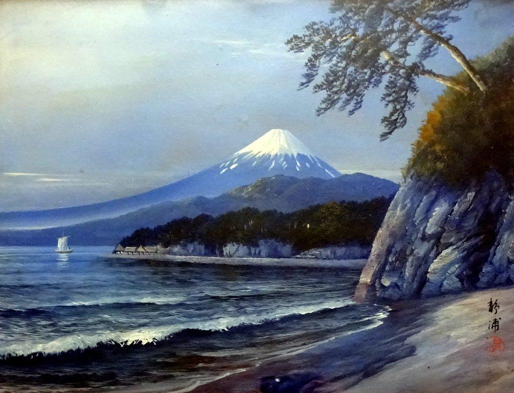 Fujiyama at sunset viewed from Shizu-ura, oil on board, signed Shou-yama c1950. Detail.
