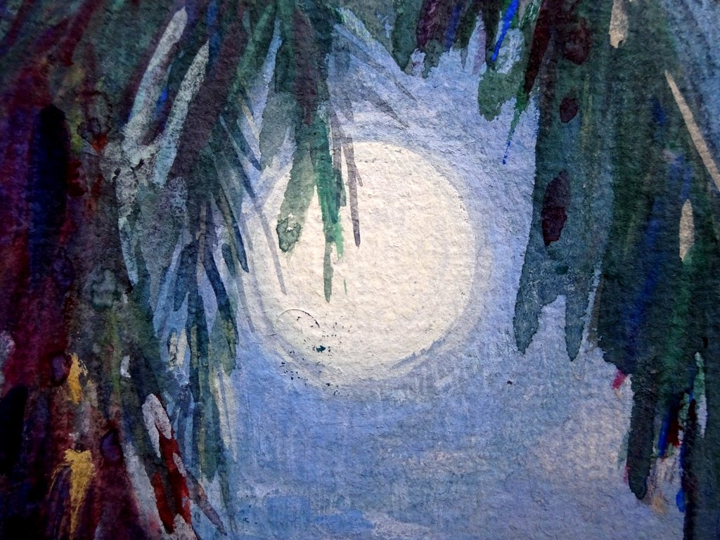 Moonlit coconut palms Trobriand Is New Guinea, watercolour gouache, signed Ellis Silas c1923. Detail.