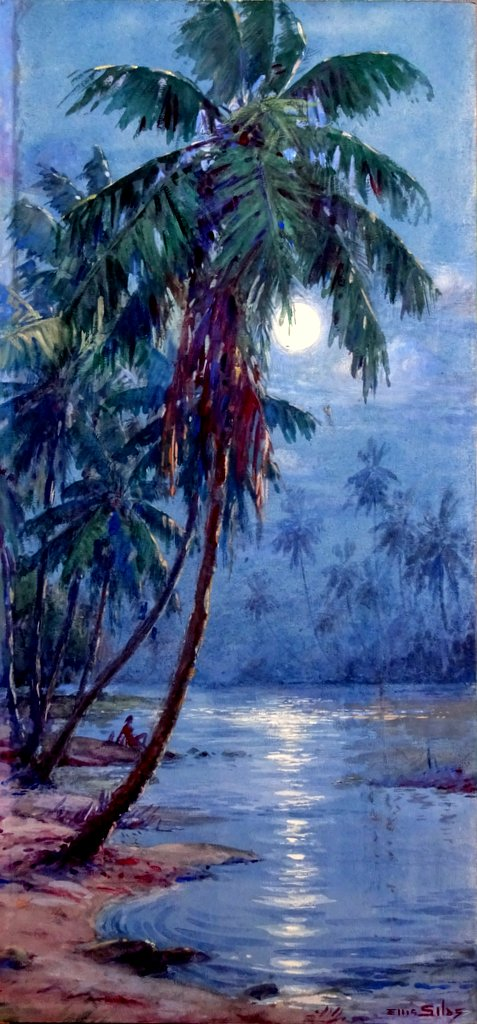 Moonlit coconut palms Trobriand Island New Guinea, watercolour gouache, sig