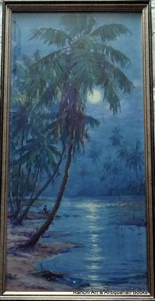 Moonlit coconut palms Trobriand Is New Guinea, watercolour gouache, signed Ellis Silas c1923. Detail. As framed, reflections in glass.