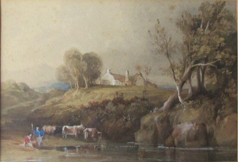 Leitch WL, Highland Scene with Cattle Drinking from River, watercolour, signed WL Leitch c1860.