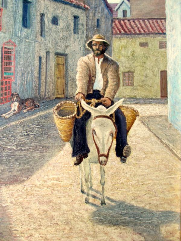 MacMillan G, Itinerant Seller on Donkey in Spanish Town, oil on board, signed G. MacMillan, c1970.