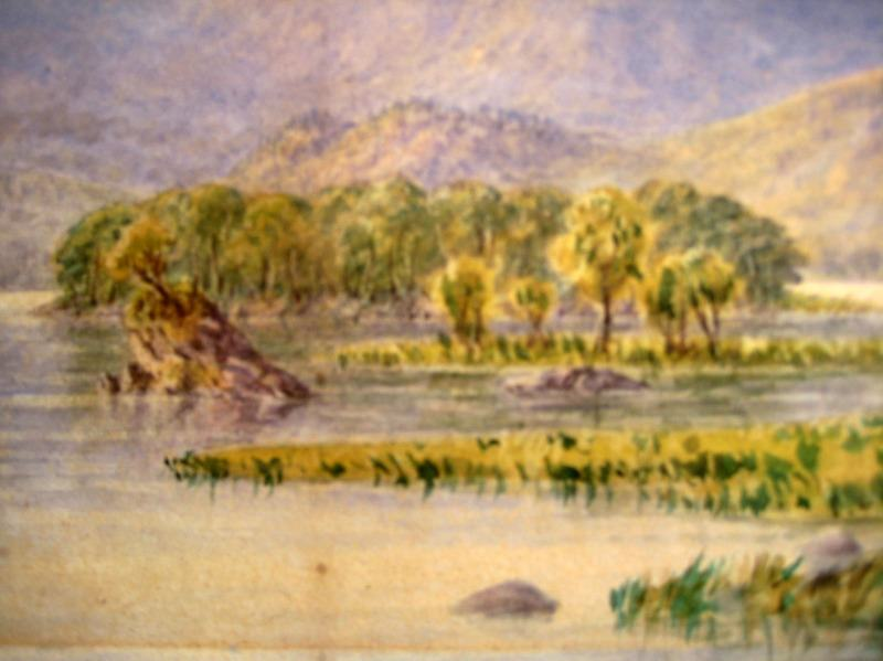 Rydal Lake watercolour unsigned c1900. Detail.