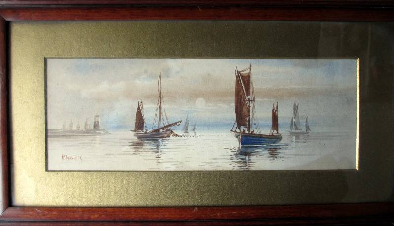 Boats Fishing off the Coast, watercolour, signed M. Farquhar, c1880. Antique 19th C Maritime.  Retaining Deposit paid. Balance paid. SOLD  29.07.2015.