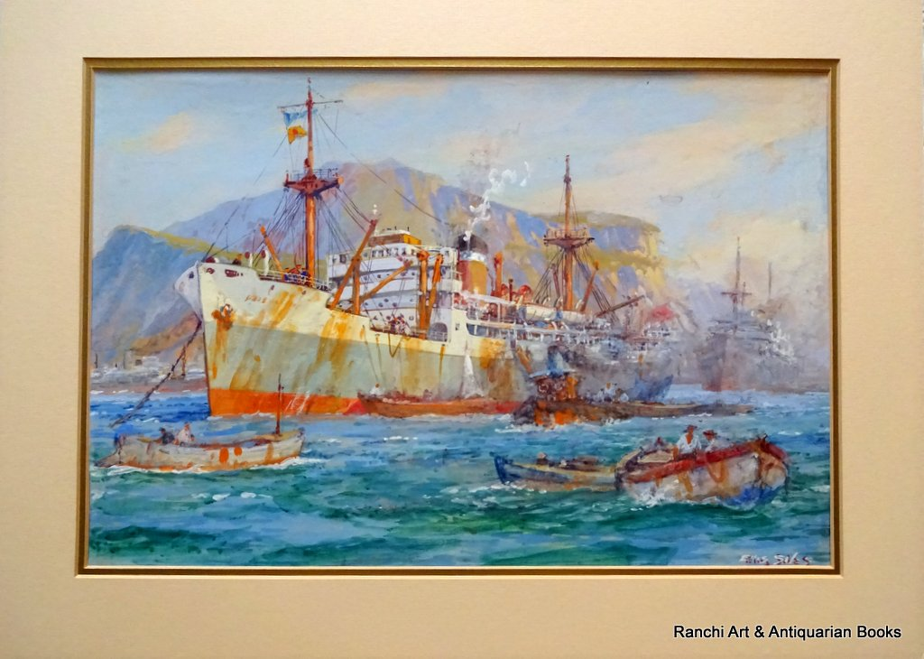 Cargo ship working at moorings Palermo Harbour watercolour and gouache signed Ellis Silas c1924.