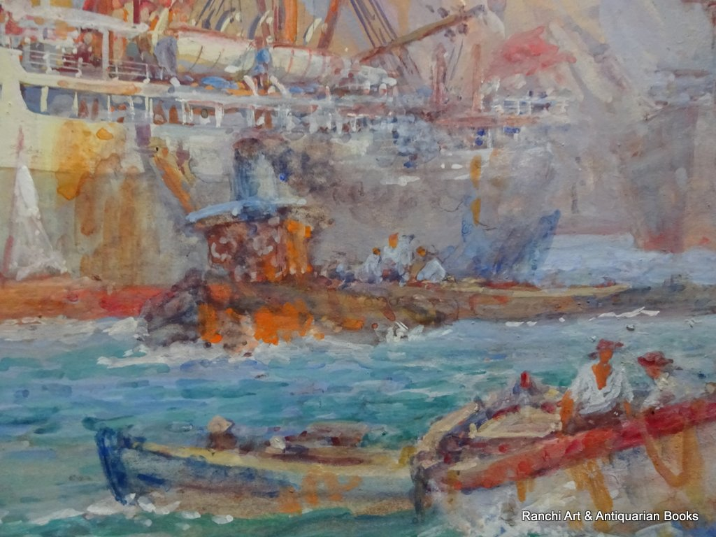 Cargo ship working at moorings Palermo Harbour watercolour and gouache signed Ellis Silas c1924. Detail.