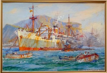 Cargo ship working at moorings Palermo Harbour Sicily, watercolour, signed Ellis Silas, c1950.