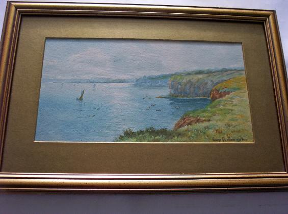 Oyston, George. Coastal scene with Boats, signed. 1916.