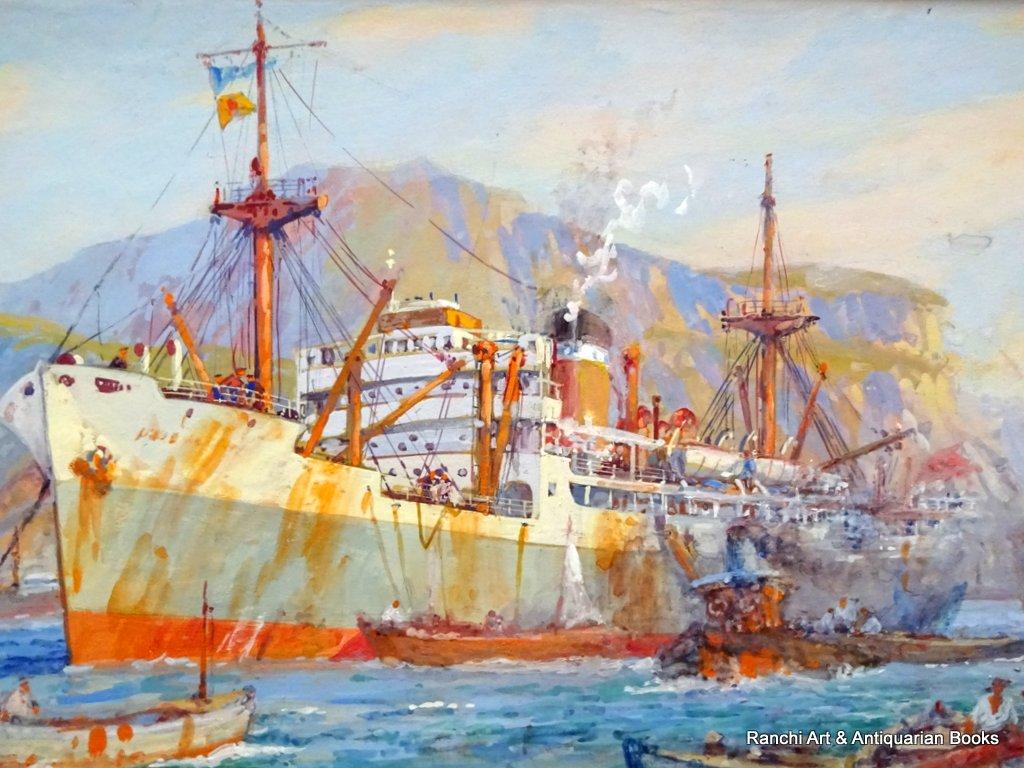 tss Venetian Ellerman Line Palermo Harbour c1950.