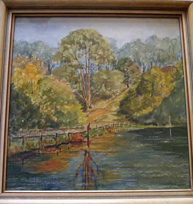 Longmire, M.G., Fishing the River-Bank, watercolour, pen and ink, signed. c1900.