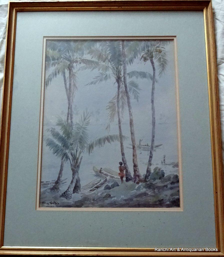 Trobriand Island Lagoon Papua, watercolour, titled, signed Ellis Silas 1921/4.