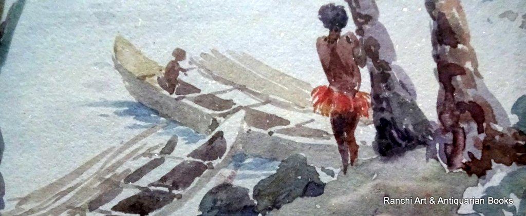 Trobriand Island Lagoon Papua, watercolour, titled, signed Ellis Silas 1921/4. Detail.