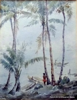 Trobriand Island Papua Lagoon, with Figure, watercolour, titled, signed Ellis Silas 1921/4.  SOLD  22.03.2016.