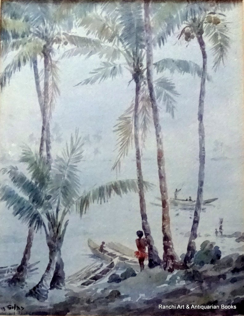 Trobriand Island Papua Lagoon, with Figure, watercolour, titled, signed Ell