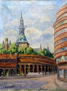 KIRKERISTEN BAZAARS, OSLO NORWAY, WITH FIGURES, OIL ON CANVAS, SIGNED BY J.R. LANDE c1950.