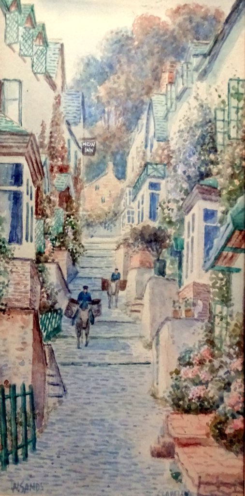Up Along Clovelly N. Devon, watercolour, titled, signed W. Sands, dated 1929. Detail.