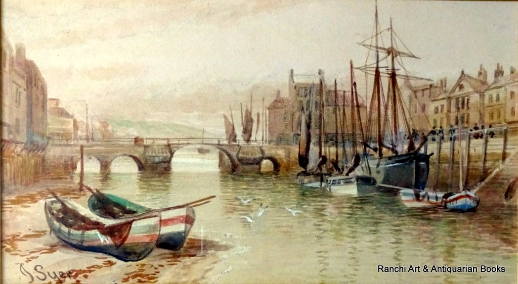 Whitby Harbour Old Bridge at low tide, watercolour, signed J. Syer, c1870.