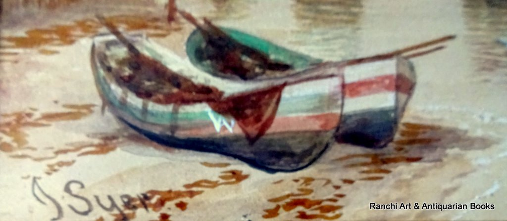 Whitby Harbour Old Bridge at low tide, watercolour, signed J. Syer, c1870. Detail.