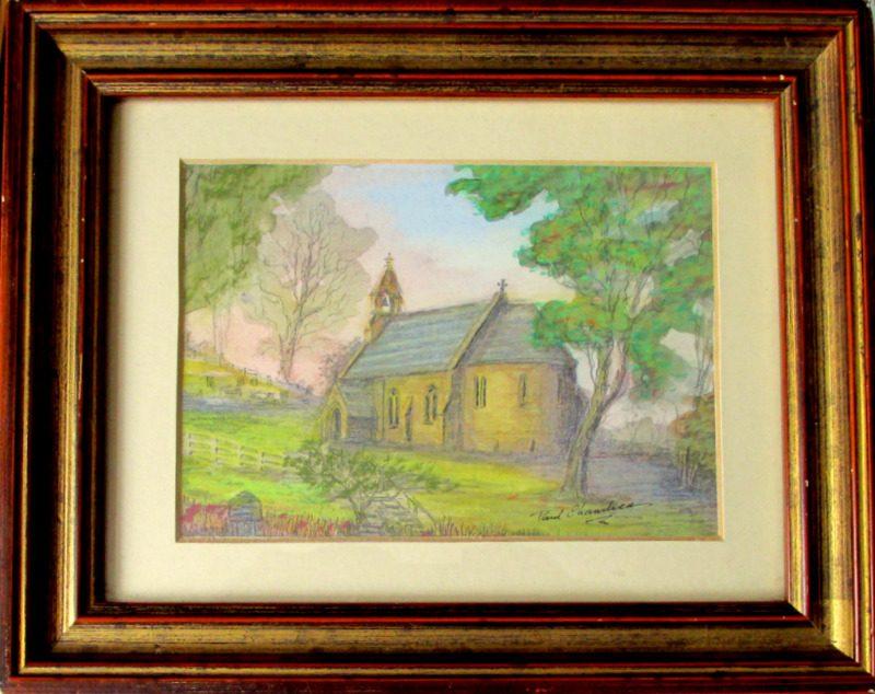 Paul Chambers, Chambers Paul, Holy Trinity Church, mixed media, signed. c1980. Original frame.