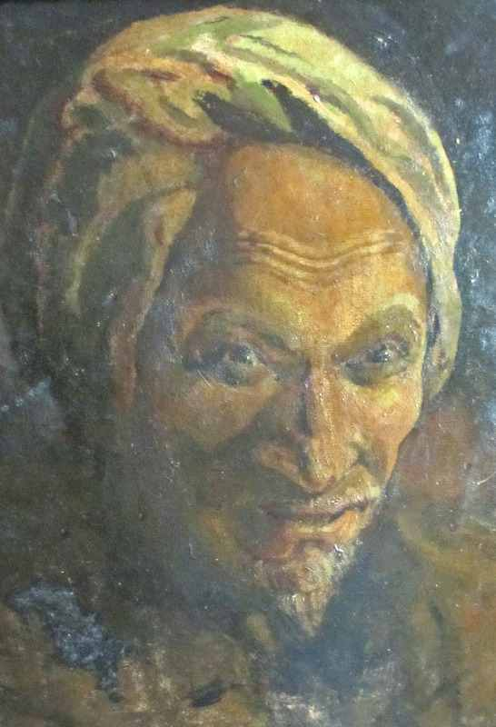 Hugh Evans, Portrait study of an Ottoman, oil on board, signed. c1900.